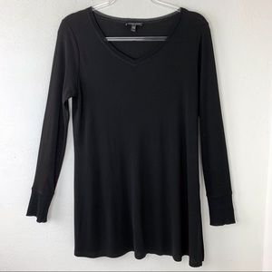 Eileen Fisher Black Silk Tunic Top Stretch V Neck